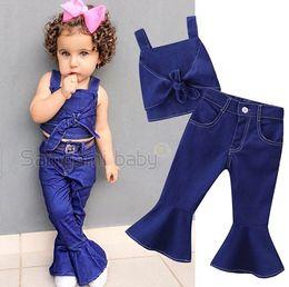Girls Denim Vest Clothing Australia - 2019 summer girls outfits fashion kids boutique clothing childrens clothes baby bow vest suspenders tops + flared pant denim jeans 2pcs sets