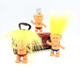 voodoo pendant NZ - 8cm Yellow Hair Troll Dolls Spoof Trump Bottle Opener Useful Cover Practical Small Tools Toys Gift