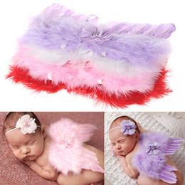 Discount angel flower headbands - Stylish Newborn Baby Kids Feather Lace Headband & Angel Wings Flowers Photo Prop Drop ship