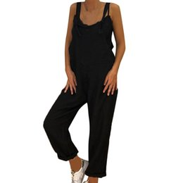 $enCountryForm.capitalKeyWord UK - Women Linen Jumpsuit Ladies Solid Casual Overall Loose Lace Up Summer Rompers Long Dungarees Harem Pants #L