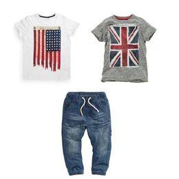 Discount wholesale cowboy kids clothes - Kids Designer Brand Clothes Cowboy Children Suits Short Sleeve Round Neck Solid Color American Flag Pattern 61