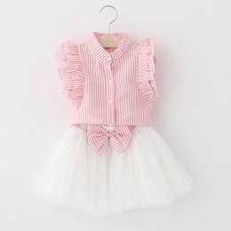 girl baby blue tutu skirt UK - Summer Baby girls sets 2pcs Girl vertical stripe flying sleeve shirt + ruffle skirts girls outfits baby tracksuit kids boutique Clothing