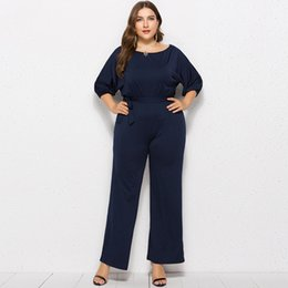 $enCountryForm.capitalKeyWord UK - Summer Plus Size Solid Belt Jumpsuit Half Sleeve Loose Playsuit Office Lady Wide Leg Tunic Rompers Straight Overalls For Women