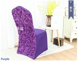 wedding chair wholesale Canada - Purple colour spandex chair covers Rosette chair cover rose flower design Lycra for wedding banquet hotel decoration