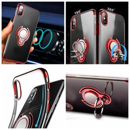 Discount stand iphone case car - Chromed Car Holder Metal Finger Ring Bracket Soft TPU Case For Iphone 11 Pro XR XS MAX X 8 7 6 Magnet Suction Stand Meta