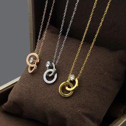 Necklaces Pendants Australia - New Arrive Fashion Lady 316L Titanium steel 18K Plated Gold Necklaces With Lettering Six Prong Setting Diamond Pendant 3 Color