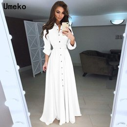 $enCountryForm.capitalKeyWord Australia - wholesale Black White Shirt Dress Women Turn-down Collar Solid Spring Maxi Ladies Dresses Long Sleeve Casual Dress Female