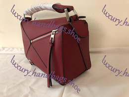 Style leather evening online shopping - high quality new style fashion genuine leather puzzle bag women shoulder bag geometric handbag evening bag with box
