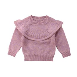 $enCountryForm.capitalKeyWord Australia - Cute Baby Girls Knitted Crochet Sweater Winter Warm Clothes Jumper Toddler Baby Girl Kids Ruffles Long Sleeve Sweaters Tops