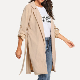 Discount ladies simple jacket - 2019 spring fashion new ladies belt rolled up long sleeve pocket solid color simple wild warm lapels long coat jacket ca