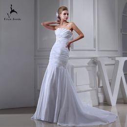 Slim Modern Wedding Dresses Australia - Eren Jossie Young Ladies Pleated Taffeta Slim Fitted White Garden Wedding Dresses With Beaded Appliques Dropshipping