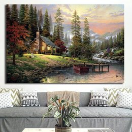 $enCountryForm.capitalKeyWord Australia - Tons Of Awesome Bob Forest house Thomas Kinkade Comics Paintings on Canvas Modern Art Decorative Wall Pictures Home Decoration