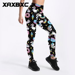 girl rainbow leggings UK - Women Yoga Pants 3905 Girl Rainbow Unicorn Donut Pony Star Printed Elastic Slim GYM Fitness Women Sport Leggings Trousers Plus Size