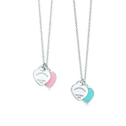$enCountryForm.capitalKeyWord Australia - 925 Silver Blue And Pink Enamel Heart Pendant Necklace Lady Jewelry Love Condole Chain Customization Wedding Best Friends Friendship Gift