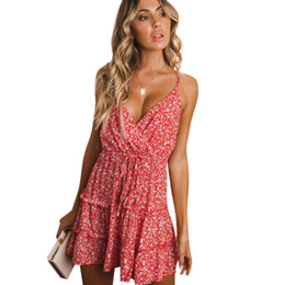 $enCountryForm.capitalKeyWord Australia - Women Summer Dress 2019 Floral Print Crossover V Neckline Sleeveless Slip Dress High Waist Tied Bandage Frill Vacation Wear