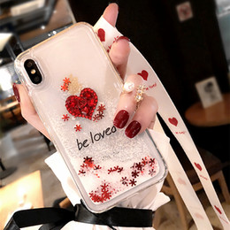 iphone heart phone cases 2020 - Glaring sparkle Shining Little red diamond heart white liquid quicksand lanyard soft phone case for iPhone 6 6s 7 8 plus