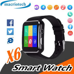 sim card smart watch sony NZ - Curved Screen X6 Smartwatch Smart Watch Bracelet Phone With SIM TF Card Slot With Camera For iPhone Samsung LG Sony Android MobilePhone