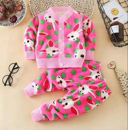 Wholesale Baby Girls Clothes Sets Autumn Winter Kids Casual Cotton Cartoon Thick Velvet Tops pants For Toddler Boys Baby Warm Suit