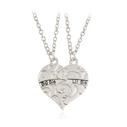 """Free Gifts Friends Australia - Letter""""Lit Sis Big Sis"""" Love Heart Pendant Necklace Simple Special Gift For Friends Jewelry Free shipping"""
