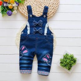 Kids Girls Jeans Jumpsuits Australia - good quality kids clothes spring autumn girl denim overalls 2019 jeans girls bib straps cartoon trousers children clothes jumpsuit