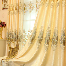 $enCountryForm.capitalKeyWord NZ - European Shading Embroidered Curtain Gold Romantic Sheer Curtain Yellow Luxury Tulle for Living Room Bedroom Villa