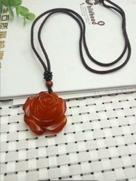 $enCountryForm.capitalKeyWord Australia - Fine Jewelry Natural Beauty of The Red Agate Jade Medullary Hand-carved Rose Pendant Necklace Free Shipping