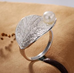 Ring Tin Australia - Ring Lotus Fun Real 925 Sterling Silver Natural Pearl Handmade Designer Fine Jewelry Creative Open Ring Leaf Rings for Women Bijoux