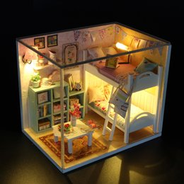 Dollhouse miniatures online shopping - DIY Handmade Doll House Miniatures Wooden Music Dollhouse With Led Light Creative Building Toys For Women And Girls gy E1