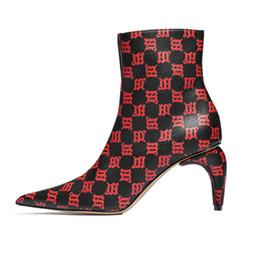 2995ecc0c89cb1 19SS Piste Sexy Bout Pointu Avant Zip Dames Bottines Mixte Couleur Cuir  Ivoire Talon Bottes De Mode Party Club Femme Chaussures