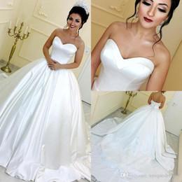 Ball Gown Wedding Dresses Australia - Sleeveless Sweetheart Neckline White Satin Ball Gown Wedding Dresses Corset Back Lace-up Satin Wedding Gowns Plus Size Bridal Dresses