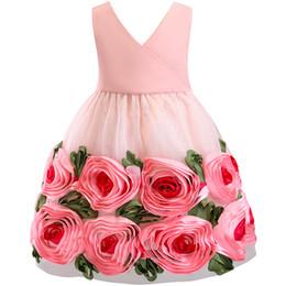 Baby Girls 3d Tutu Australia - Kids Party Events 3D Flower Girls Wedding Dresses Tutu Dress For Little Baby Girls Prom Gown Children Bridesmaid Kids Clothes
