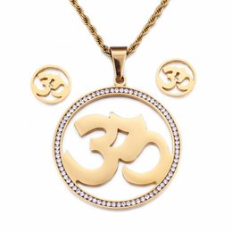gold om pendants NZ - Gold OM Jewelry Sets For Women Stainless Steel & Rhinestone Yoga OM Buddhism Pendant Necklace & Earrings Sets