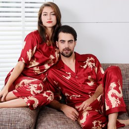 silk pyjamas men Australia - Men Satin Silk Pajamas Set Print Chinese Dragon 2 Piece Pyjamas Set Short-sleeved Rayon Couple Home Wear Short Sleeve Nightwear