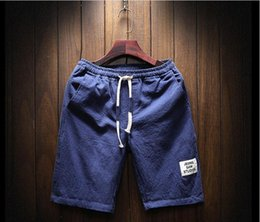Air Pants Australia - Wholesale summer wear men's rope flax shorts men cotton linen casual air shorts travel multi-colored beach pants. Five Colors M-5XL Size