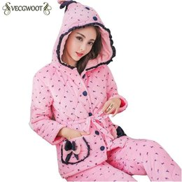 $enCountryForm.capitalKeyWord UK - Winter Women Pajama Sets Coral Velvet 2018 Fashion Thicker Warm Korean Pajama Hooded Sweet Cute Flannel Home Service Suits PR474