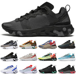 royal pack Australia - New React Element 55 87 Running Shoes men women triple black white Grid Pack Sail Anthracite Royal Red moss mens trainers sports sneakers