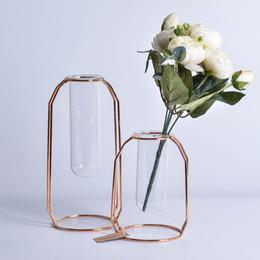 Deco Plants Australia - Wire Metal Vase Flower Glass Vase Planter Terrariums Rose Gold Vase Plant for Deco Geometric pergola Creative Houseitems Soft outfit