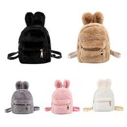 Luggage & Bags Children Faux Fur Mini Rabbit Ears Backpacks Girls Kids School Kindergarten Shoulder Bags Purse Kids Baby Plush Backpack Handbag Fragrant Aroma Backpacks