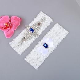 $enCountryForm.capitalKeyWord Australia - Bridal Garters Blue Crystal Beads Bow 2pcs Set White Lace For Bride's Wedding Garters Leg Garters Plus Size In Stock Cheap