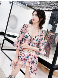 Fragrance s online shopping - Three Piece Split Skirt Style Small Chest Gathered Conservative Cover Belly Slim Sexy Korean Little Fragrance Swimsuit