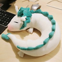 ghibli toys UK - 28cm Hot Ghibli Miyazaki Hayao Anime Plush Toy Spirited Away Haku Cute Doll Stuffed Plush Toy U-Shape Neck Pillow Christmas Gift