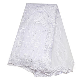 $enCountryForm.capitalKeyWord UK - Tulle Lace Fabric With Sequins African Lace Fabric High Quality Embroidered French Net Lace For Women Dress New white