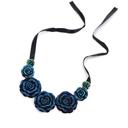 $enCountryForm.capitalKeyWord Australia - Rose Necklace New Fashion Jewelry Big Resin Crystal Blue Flower Necklaces & Pendants Statement Bib Chunky Choker Necklaces