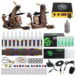 Brass Needles Australia - Professional Tattoo Kit Brass Coils Machines Liner Shader Guns Mini Power Supply Disposable Needles Inks Tattoo Set D3037