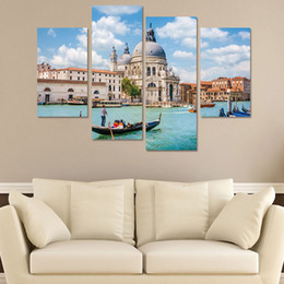 $enCountryForm.capitalKeyWord NZ - 4pcs set 3D Water City Venice Landscape Combination Wall Stickers Home Decor Living Room Bedroom Poster Self-adhesive Art Mural