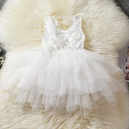 baby wedding dresses year UK - White Baby Girl Dress Baptism Clothes Girl 1 2 Year Birthday Outfit for Baby Wedding Dress Little Party Frocks Designs