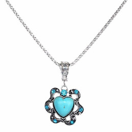 $enCountryForm.capitalKeyWord Australia - Europe And The United States Love Heart Hollow Flowers Diamond Turquoise Pendant Necklaces For Women National Style Jewelry Collar Hot