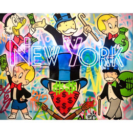 """$enCountryForm.capitalKeyWord Australia - Alec Monopoly Graffiti Handcraft Oil Painting on Canvas,""""New York"""" home decor wall art painting,24*30inch stretched"""