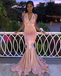 Black Formal Dresses South Africa Australia - 2019 2K17 19 Halter Neck Prom Dresses Appliques Mermaid Black Girls South Africa Style Formal Evening Occasion Party Dresses Custom Made