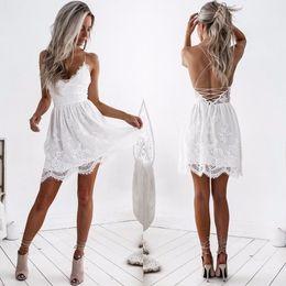 $enCountryForm.capitalKeyWord Australia - White Lace Women Backless Dresses V Neck Camisole Black Sexy Strap Women Dress Clothings For Ladies Mini Vestidos designer clothes